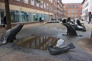 Seelöwen in der Stadt gefunden